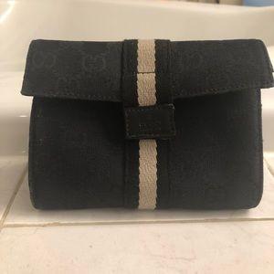 Gucci GG Logo Black Canvas Make-Up Bag